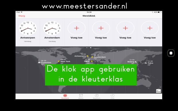 De klok app gebruiken in de kleuterklas